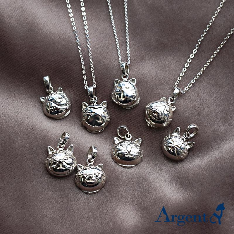 Q版貓-全-正面立體造型後面平面-動物雕刻純銀項鍊