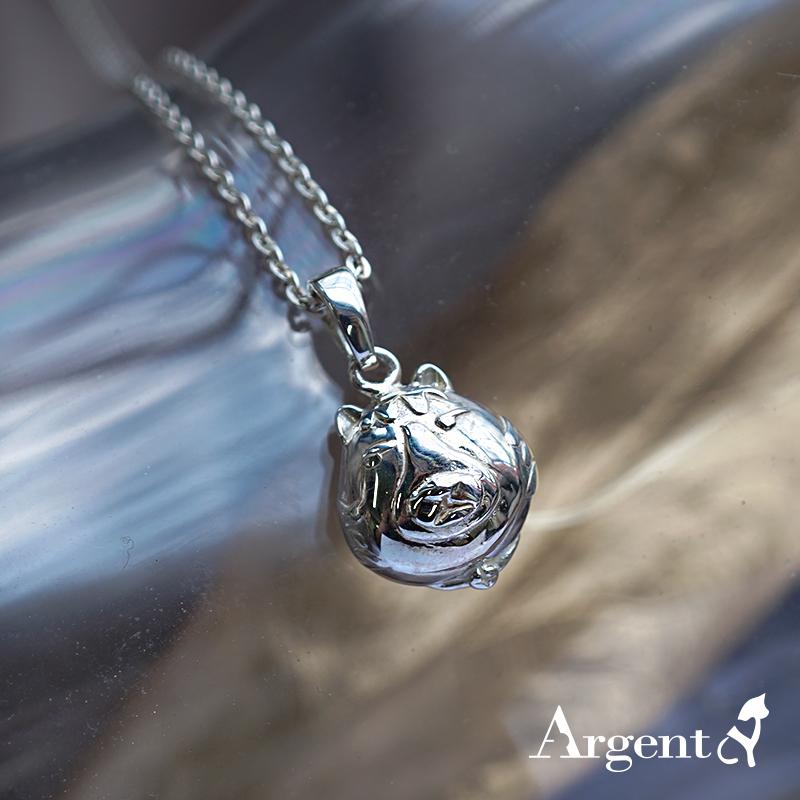 Q版貓-虎斑貓(小虎)正面立體造型後面平面-動物雕刻純銀項鍊