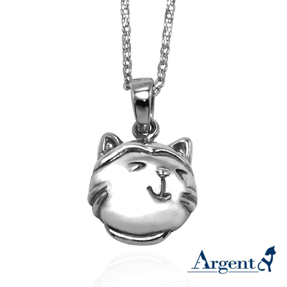 Q版貓-乳牛貓(點點)正面立體造型後面平面-動物雕刻純銀項鍊
