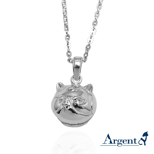 Q版貓-虎斑貓(小花)正面立體造型後面平面-動物雕刻純銀項鍊