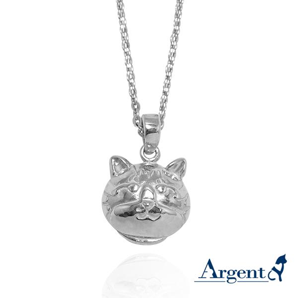 Q版貓-虎斑貓(斑斑)正面立體造型後面平面-動物雕刻純銀項鍊