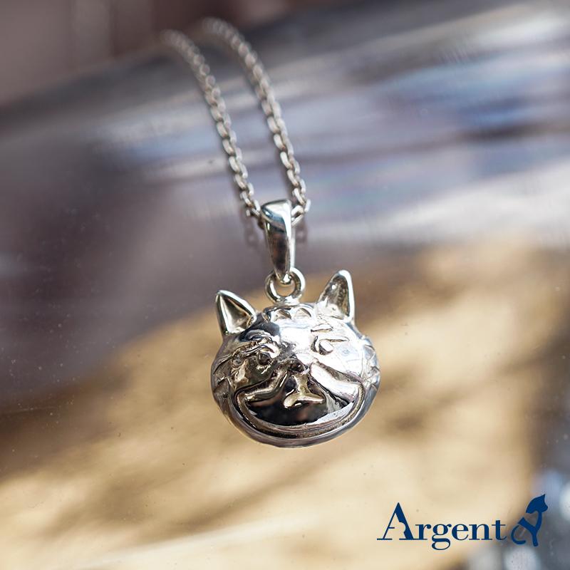 Q版貓-虎斑貓(咪咪)正面立體造型後面平面-動物雕刻純銀項鍊
