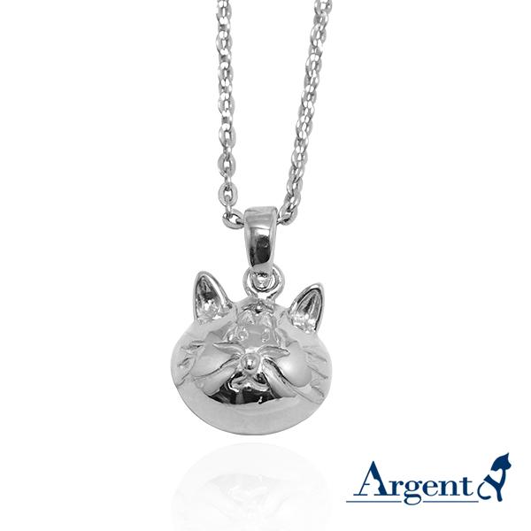 Q版貓-虎斑貓(貓仔)正面立體造型後面平面-動物雕刻純銀項鍊