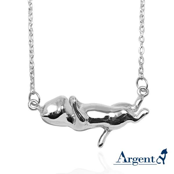 貓咪咕嚕姿勢-跳舞-半立體造型動物純銀項鍊銀飾-剪影立體造型