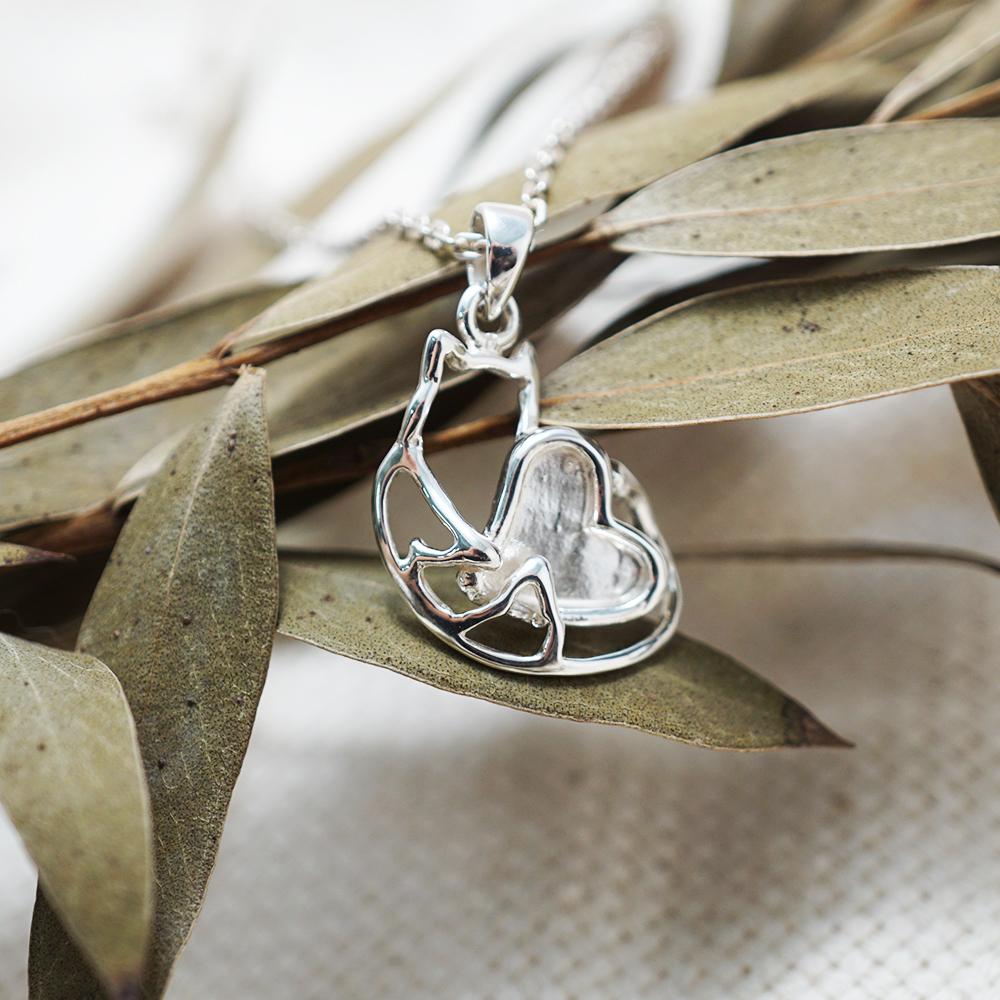 線條貓系列-擁愛-簡約純銀項鍊銀飾