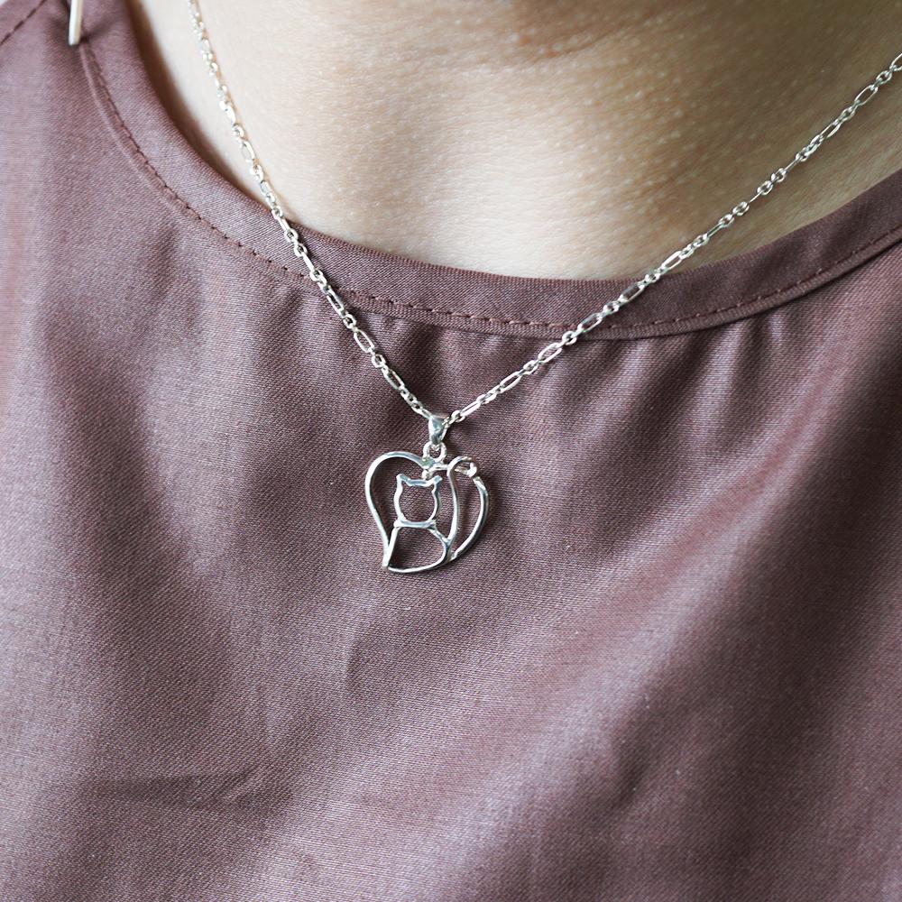 線條貓系列-藏愛-簡約純銀項鍊銀飾