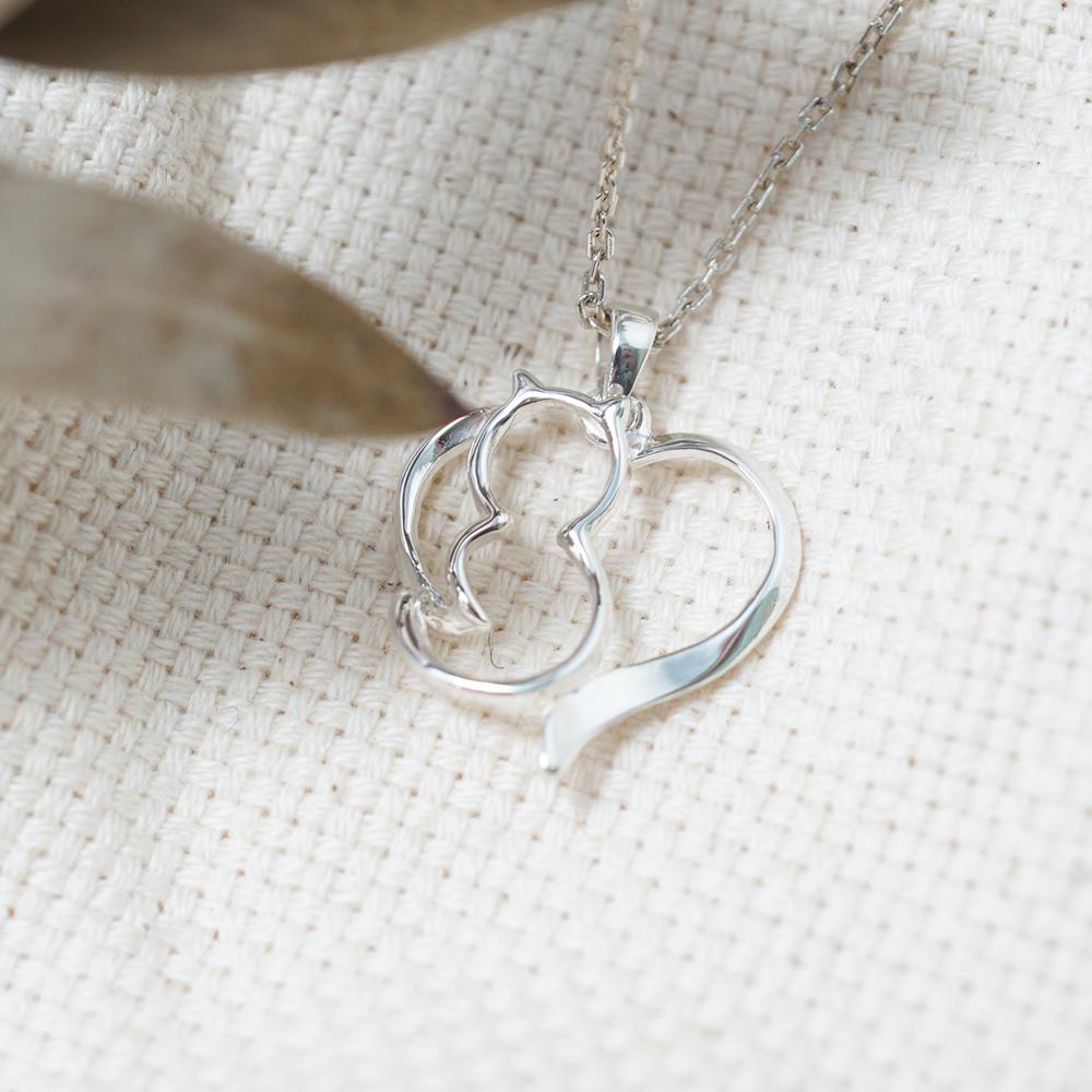 線條貓系列-環愛-簡約純銀項鍊銀飾