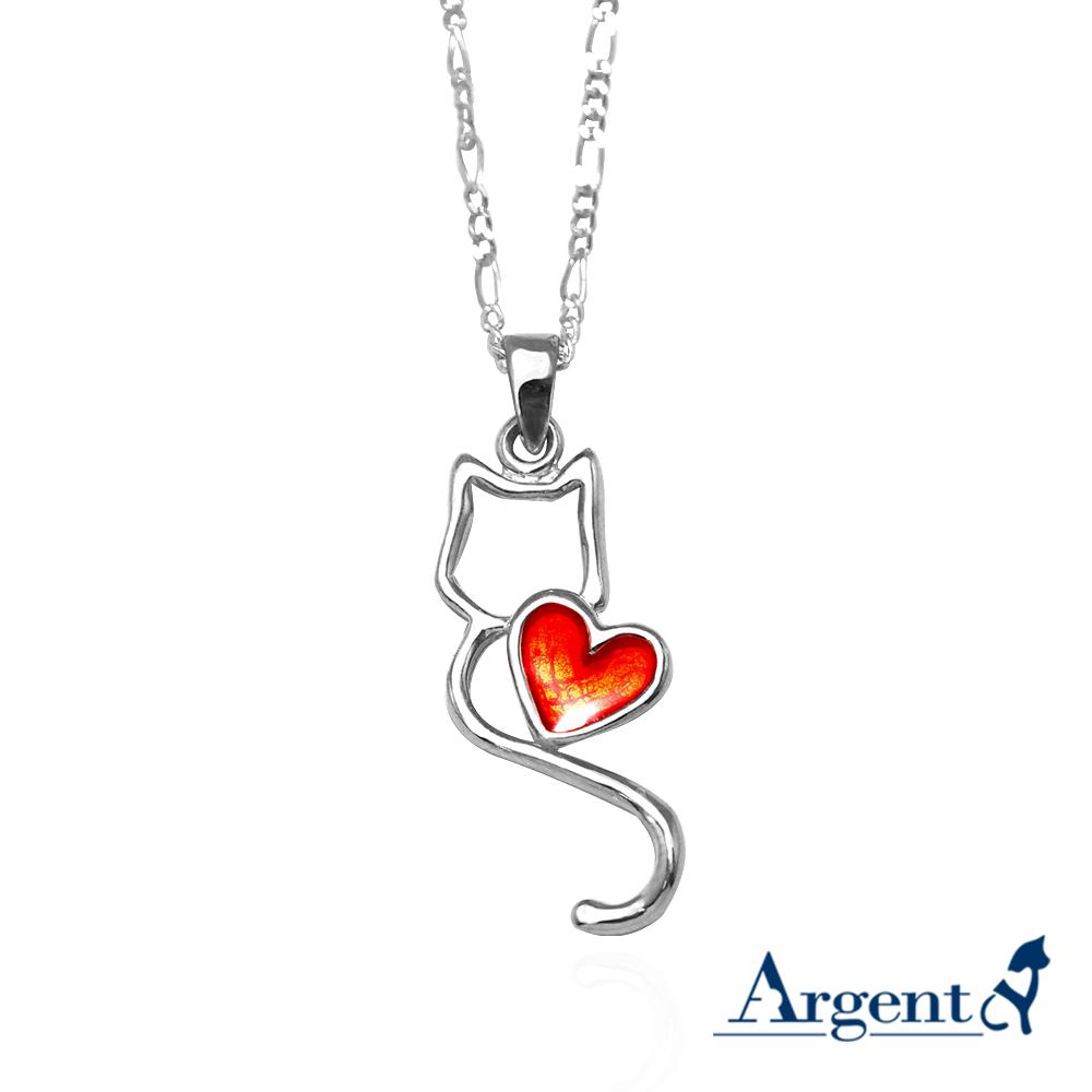 線條貓系列-戀愛-簡約純銀項鍊銀飾