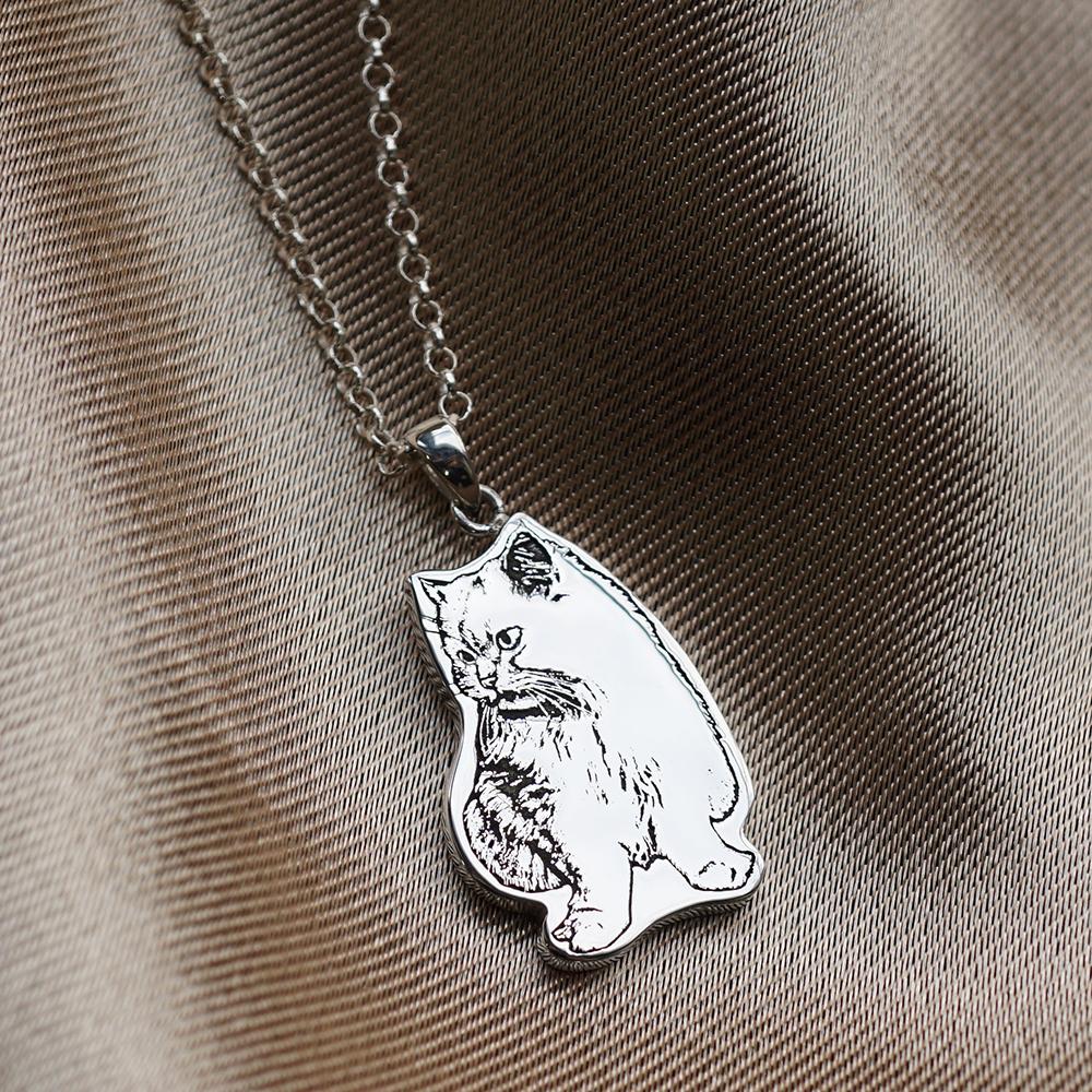 純銀-寵物外型-單面照片雷刻圖項鍊銀飾|雷刻照片+手工鋸(平面)|客製化項鍊刻字訂做