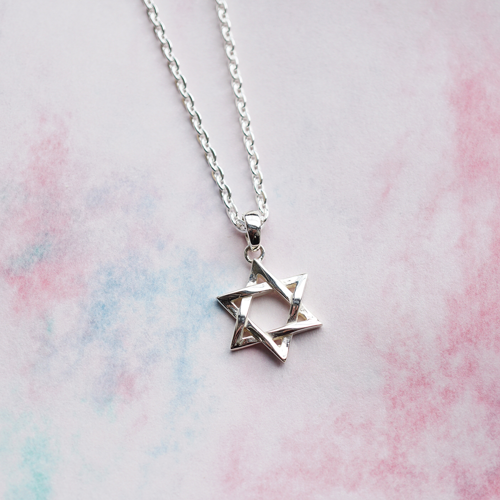 「六芒星(大)」造型純銀項鍊