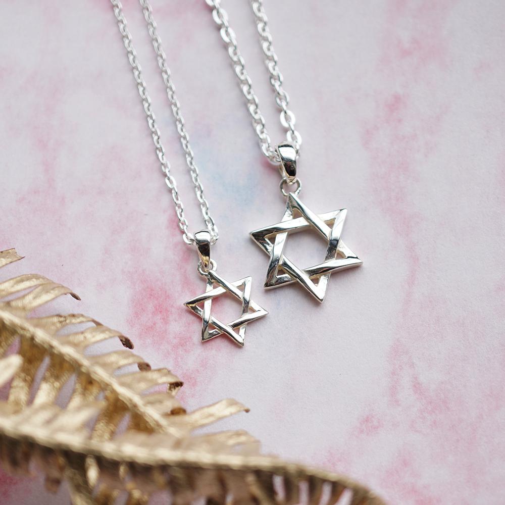 「六芒星(大+小)」造型純銀項鍊