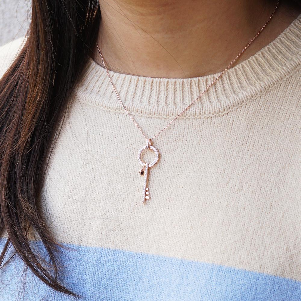 「祈願鑰匙-玫瑰金」造型簍空純銀項鍊銀飾 銀項鍊推薦