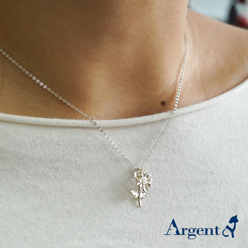 「菊花」立體純銀項鍊銀飾