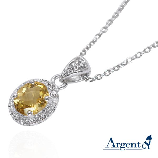 花.嫁紗(黃水晶)天然寶石純銀項鍊