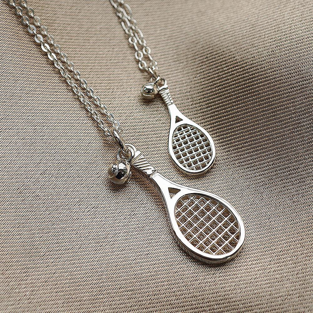 網球拍造型雕刻純銀項鍊銀飾