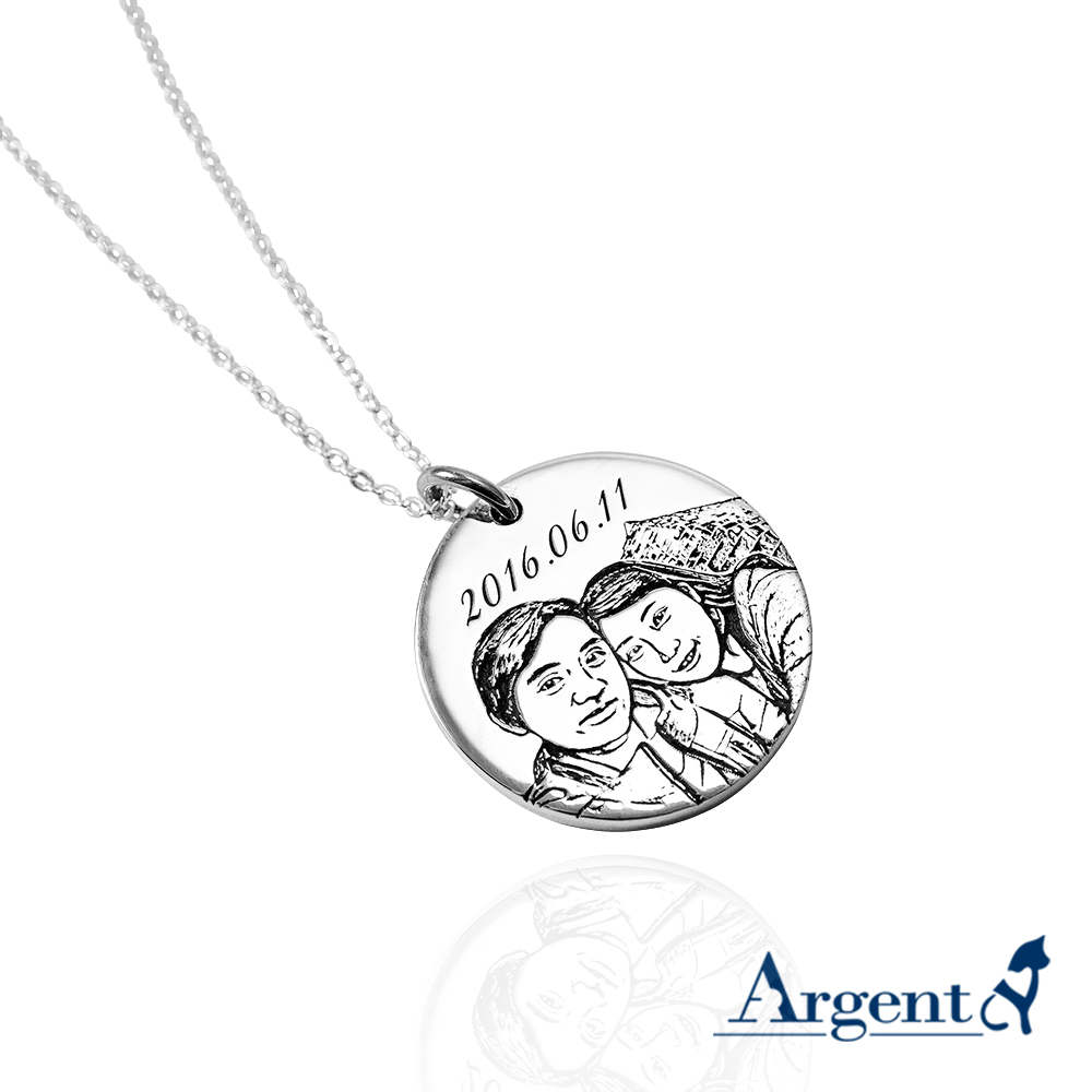 大圓牌刻圖(照片/手繪圖/簽名)項鍊銀飾|客製化項鍊刻字訂做