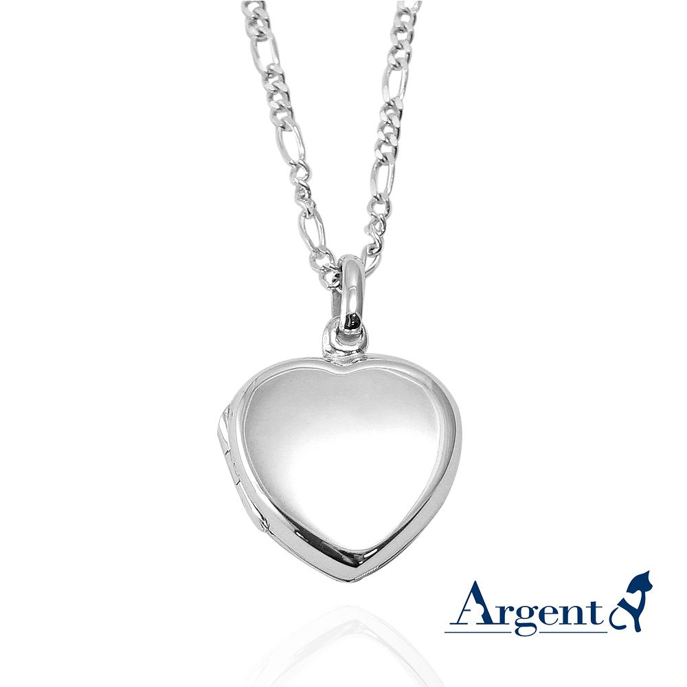 立體愛心平鏡面純銀項鍊銀飾