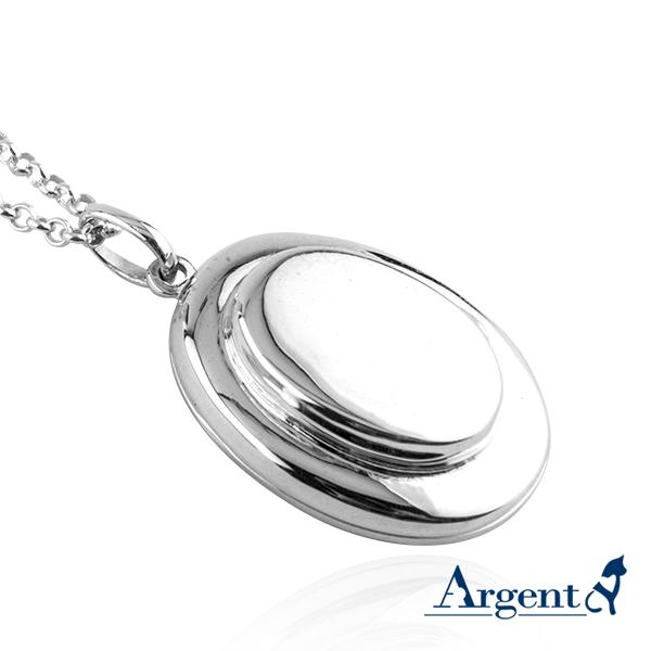 雙層橢圓鏡面純銀項鍊