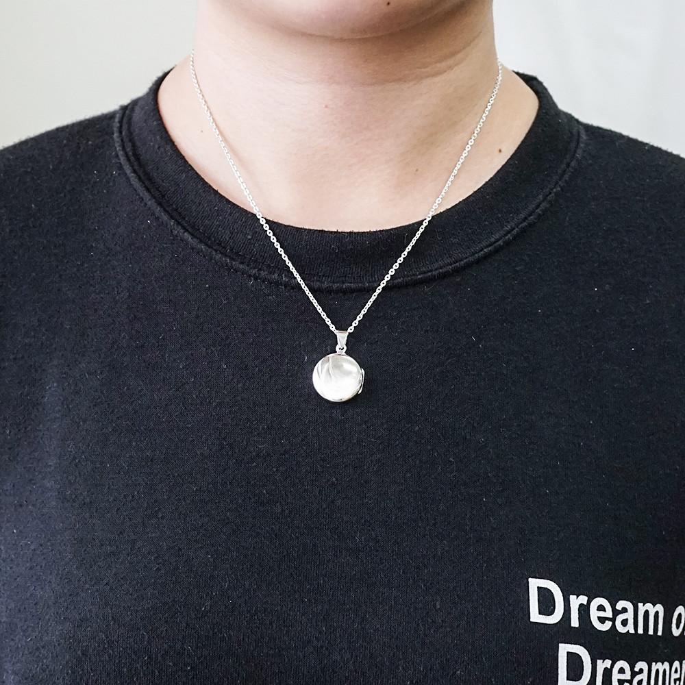 圓型鏡面(中.平)純銀項鍊銀飾|客製化項鍊