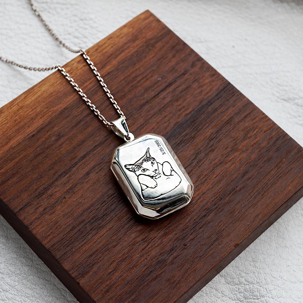 方型大平面純銀項鍊銀飾(含單面刻圖.單面刻字.代放單張照片護貝)