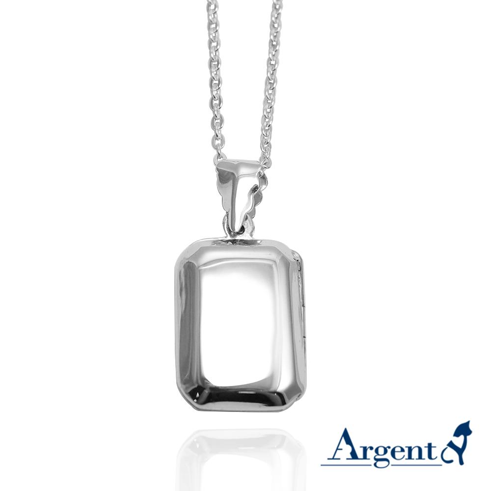 立體方塊-方型鏡面(中.平)純銀項鍊