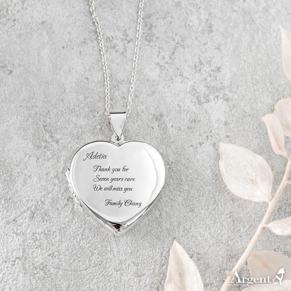 正愛心鏡面(大.平)純銀項鍊銀飾