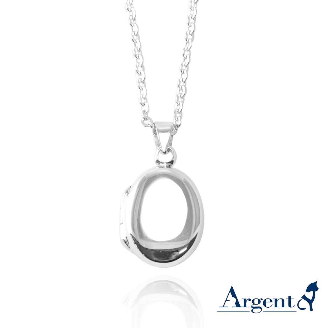 鵝卵石(迷你.平)蛋型橢圓鏡面純銀項鍊