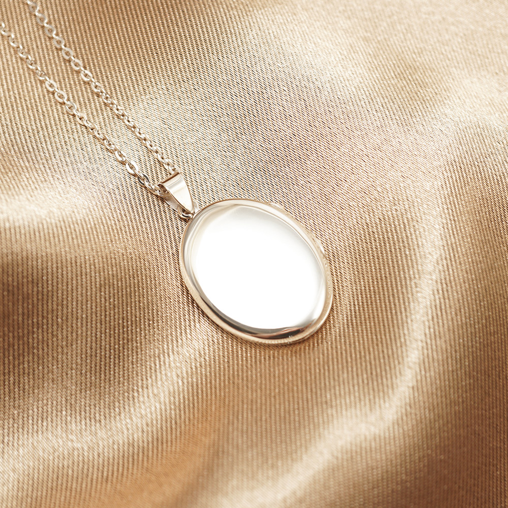 鵝卵石(中.平面)蛋型橢圓鏡面純銀項鍊