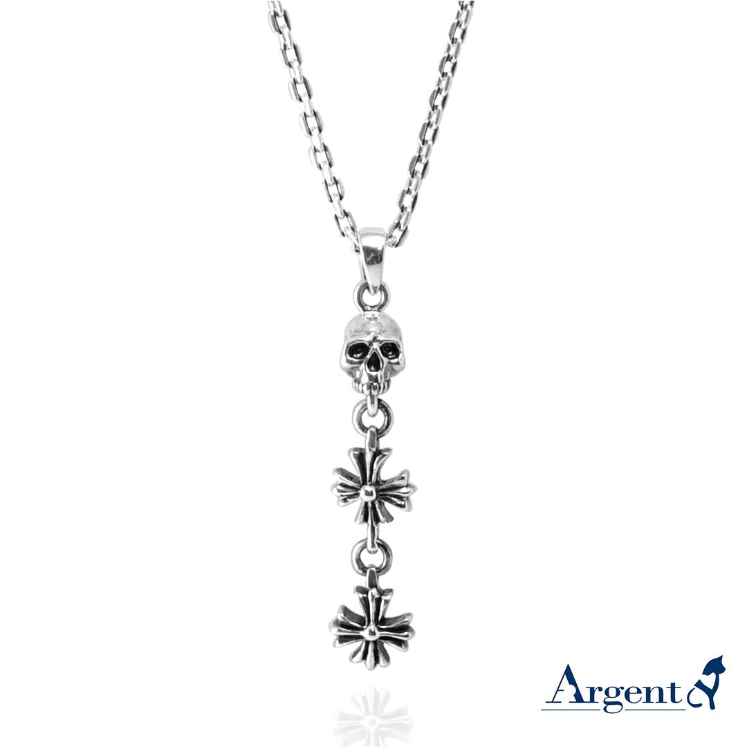 「骷髏+2個垂吊十字」造型銀飾|銀項鍊推薦