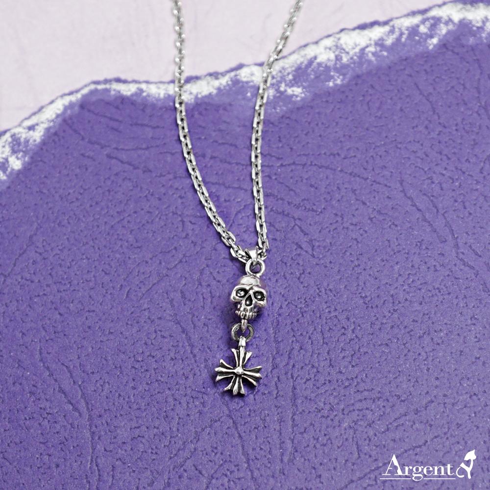 「骷髏+1個垂吊十字」造型銀飾|銀項鍊推薦