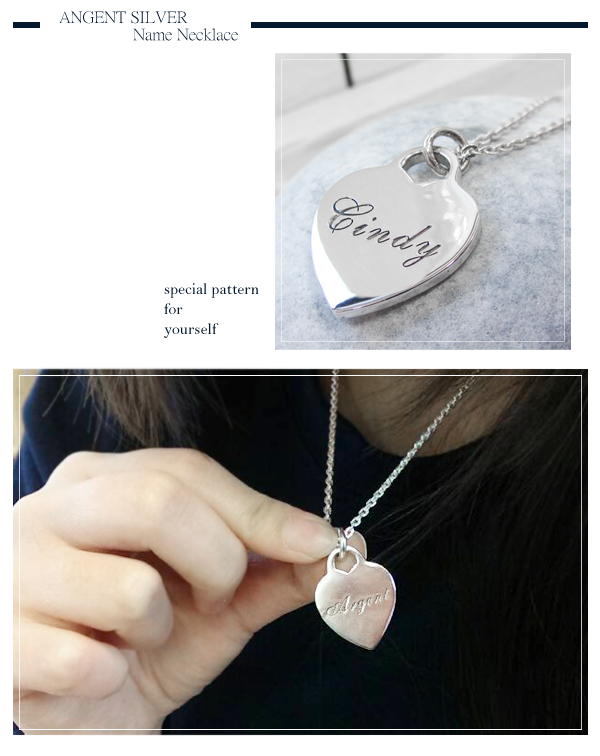 heart tag English name lettering necklace silver | custom necklace lettering made
