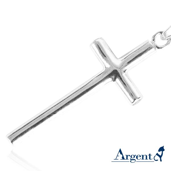 藏鑽十字鑲鑽造型純銀項鍊銀飾
