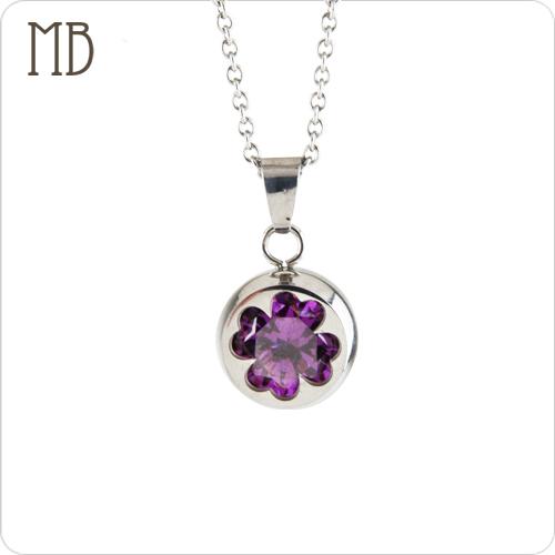 「幸運草(紫色)」造型白鋼項鍊|防過敏316L醫療鋼項鍊
