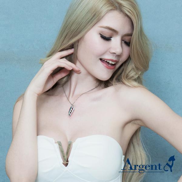 「秋葉」白鑽造型純銀項鍊銀飾|銀項鍊推薦