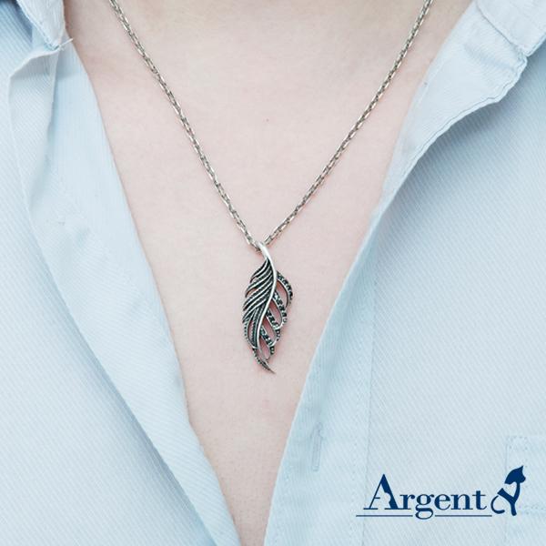 「秋葉」黑鑽造型純銀項鍊銀飾|銀項鍊推薦