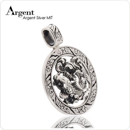 「魚躍龍門」立體雕刻純銀項鍊銀飾