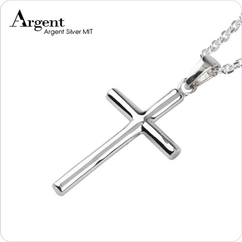 大圓柱十字架純銀項鍊銀飾