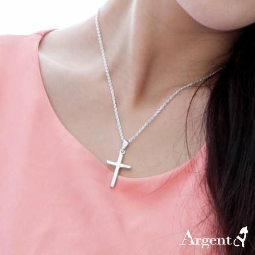 中圓柱十字架純銀項鍊銀飾