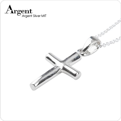 小圓柱十字架純銀項鍊銀飾