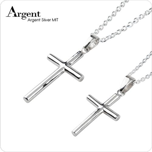 圓柱十字架情人純銀對鍊|大+中墜|情侶對鍊推薦