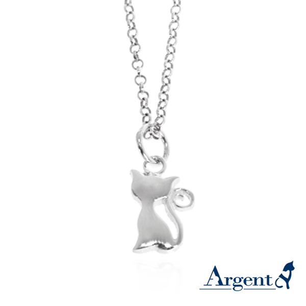 小貓咪造型素面簡約純銀項鍊銀飾