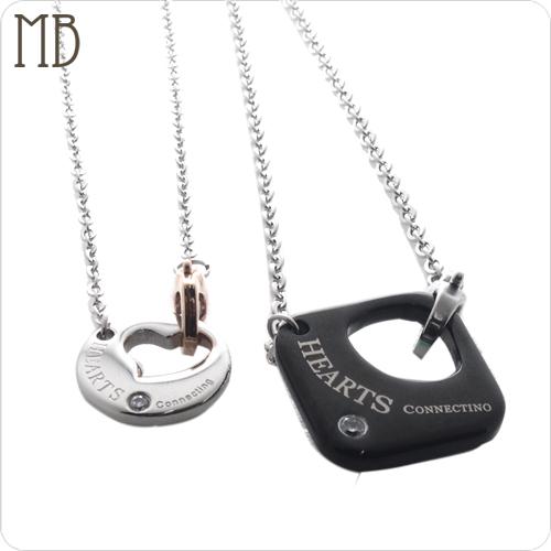 「緊扣你心(黑+玫瑰金)」造型白鋼項鍊|防過敏316L醫療鋼項鍊