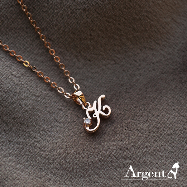 英文鑲鑽字母刻字項鍊銀飾|客製化項鍊刻字訂做