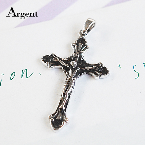 古典十字(INRI)造型純銀項鍊銀飾