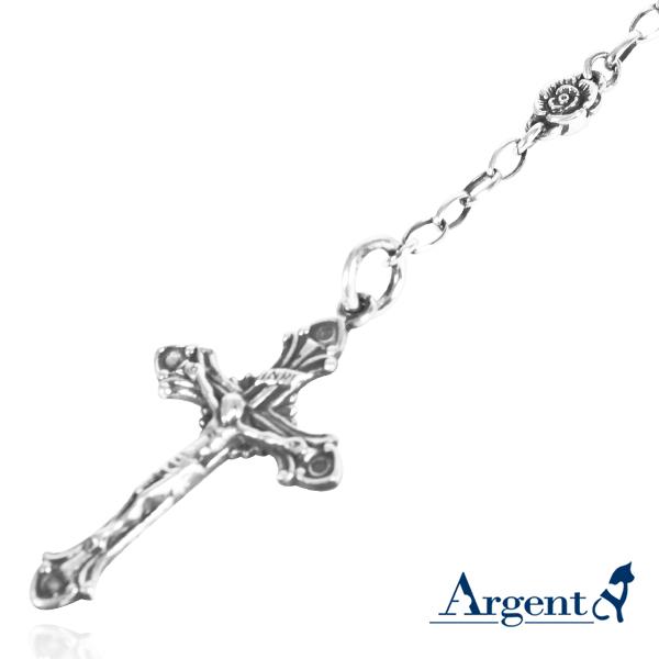玫瑰古典十字INRI純銀項鍊銀飾|銀項鍊推薦