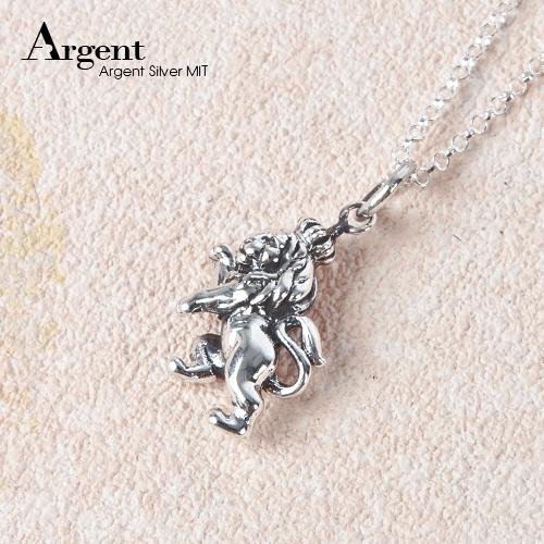 小獅王造型雕刻純銀項鍊銀飾