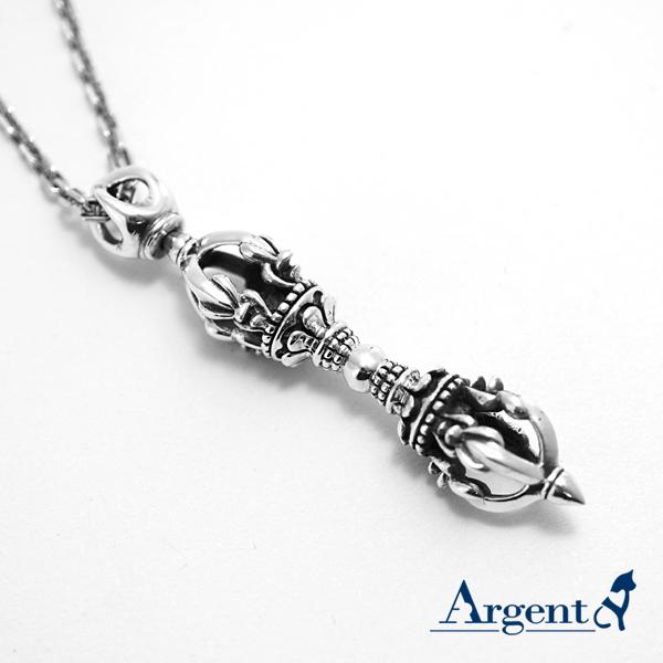 「轉運金剛杵」宗教風格純銀項鍊|銀項鍊推薦