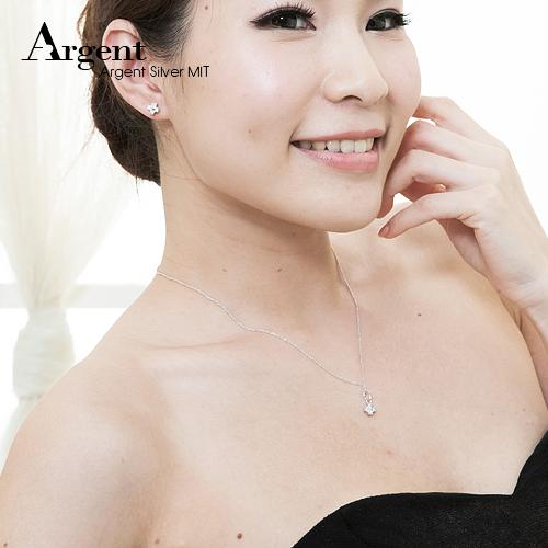浪漫十字純銀項鍊耳針套組|銀飾推薦
