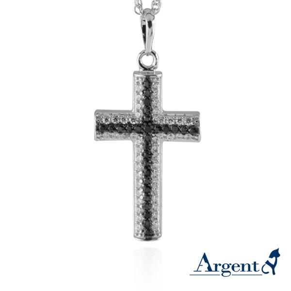 雙十字鑲鑽造型純銀項鍊銀飾|銀項鍊推薦