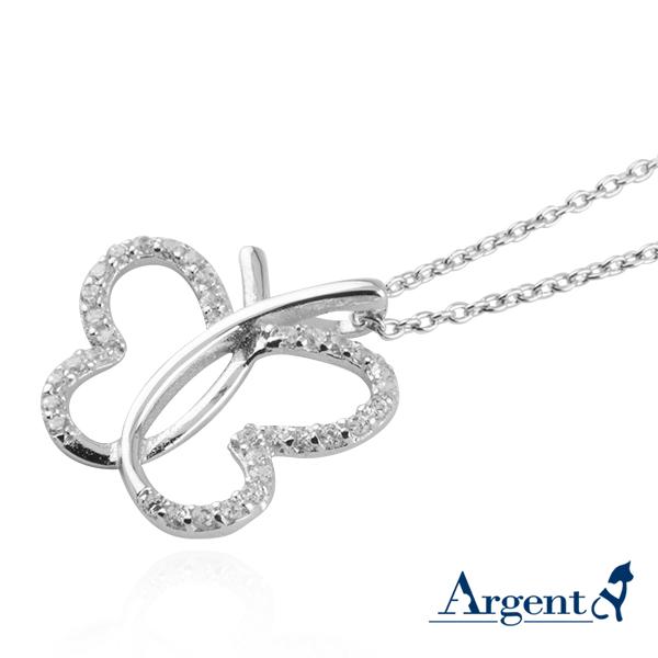 「線蝶」造型簍空純銀項鍊銀飾